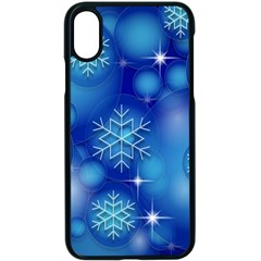 Blue Background Christmas Apple Iphone Xs Seamless Case (black)