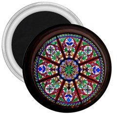 Church Window Window Rosette 3  Magnets