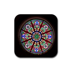 Church Window Window Rosette Rubber Coaster (square)
