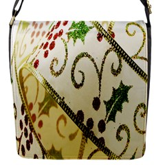 Christmas Ribbon Background Flap Closure Messenger Bag (s)