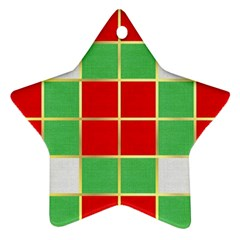 Christmas Fabric Textile Red Green Ornament (star)