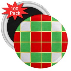 Christmas Fabric Textile Red Green 3  Magnets (100 Pack)