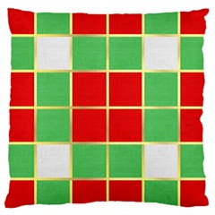 Christmas Fabric Textile Red Green Large Cushion Case (one Side) by Wegoenart
