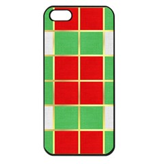 Christmas Fabric Textile Red Green Apple Iphone 5 Seamless Case (black)