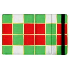 Christmas Fabric Textile Red Green Apple Ipad 3/4 Flip Case by Wegoenart