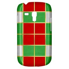 Christmas Fabric Textile Red Green Samsung Galaxy S3 Mini I8190 Hardshell Case