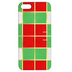 Christmas Fabric Textile Red Green Apple Iphone 5 Hardshell Case With Stand by Wegoenart
