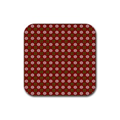 Christmas Paper Wrapping Pattern Rubber Coaster (square)