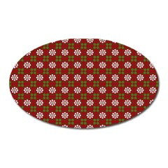 Christmas Paper Wrapping Pattern Oval Magnet