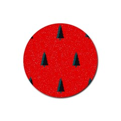 Christmas Time Fir Trees Rubber Round Coaster (4 Pack)