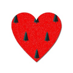 Christmas Time Fir Trees Heart Magnet