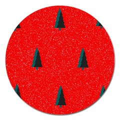 Christmas Time Fir Trees Magnet 5  (round)
