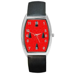 Christmas Time Fir Trees Barrel Style Metal Watch