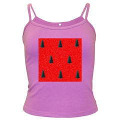 Christmas Time Fir Trees Dark Spaghetti Tank