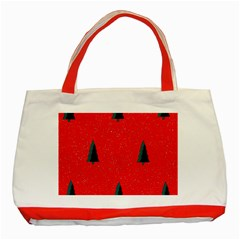 Christmas Time Fir Trees Classic Tote Bag (red)