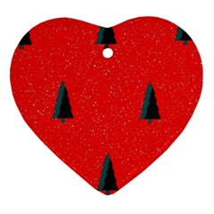 Christmas Time Fir Trees Heart Ornament (two Sides)