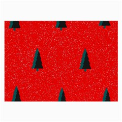 Christmas Time Fir Trees Large Glasses Cloth