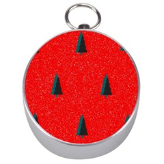 Christmas Time Fir Trees Silver Compasses