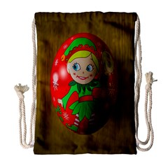 Christmas Wreath Ball Decoration Drawstring Bag (large)