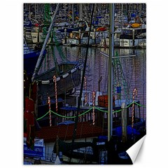 Christmas Boats In Harbor Canvas 36  X 48
