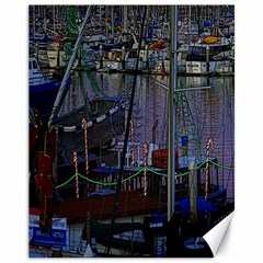 Christmas Boats In Harbor Canvas 11  X 14  by Wegoenart