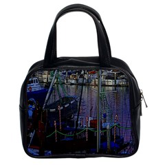 Christmas Boats In Harbor Classic Handbag (two Sides)
