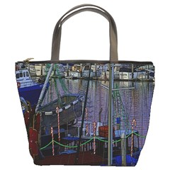 Christmas Boats In Harbor Bucket Bag by Wegoenart