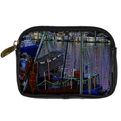 Christmas Boats In Harbor Digital Camera Leather Case