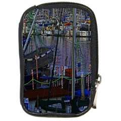 Christmas Boats In Harbor Compact Camera Leather Case