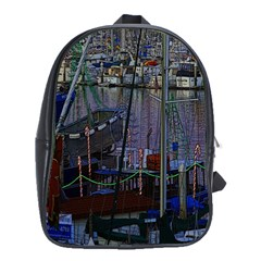 Christmas Boats In Harbor School Bag (large)