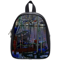 Christmas Boats In Harbor School Bag (small)
