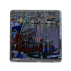 Christmas Boats In Harbor Memory Card Reader (square 5 Slot)