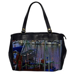 Christmas Boats In Harbor Oversize Office Handbag (2 Sides)