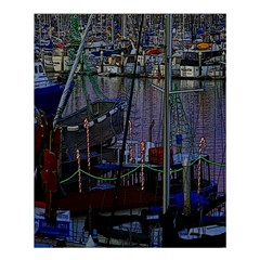Christmas Boats In Harbor Shower Curtain 60  X 72  (medium)