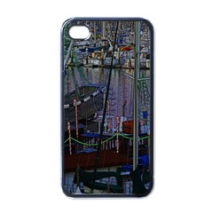 Christmas Boats In Harbor Apple Iphone 4 Case (black)