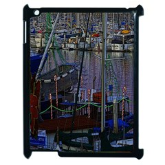 Christmas Boats In Harbor Apple Ipad 2 Case (black)