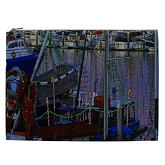 Christmas Boats In Harbor Cosmetic Bag (xxl)