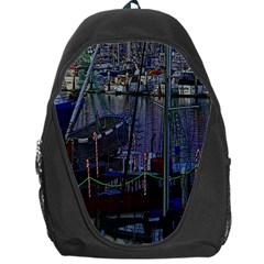 Christmas Boats In Harbor Backpack Bag