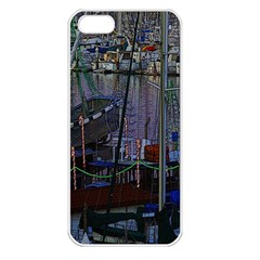 Christmas Boats In Harbor Apple Iphone 5 Seamless Case (white)