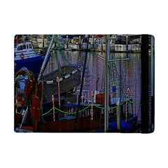 Christmas Boats In Harbor Apple Ipad Mini Flip Case