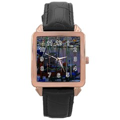 Christmas Boats In Harbor Rose Gold Leather Watch