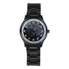 Christmas Boats In Harbor Stainless Steel Round Watch