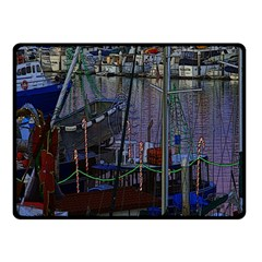 Christmas Boats In Harbor Double Sided Fleece Blanket (small)