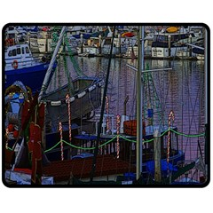 Christmas Boats In Harbor Double Sided Fleece Blanket (medium)