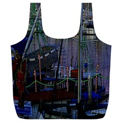 Christmas Boats In Harbor Full Print Recycle Bag (xl)