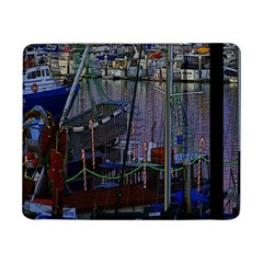 Christmas Boats In Harbor Samsung Galaxy Tab Pro 8 4  Flip Case