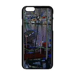 Christmas Boats In Harbor Apple Iphone 6/6s Black Enamel Case