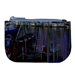 Christmas Boats In Harbor Large Coin Purse