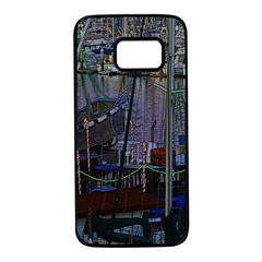Christmas Boats In Harbor Samsung Galaxy S7 Black Seamless Case