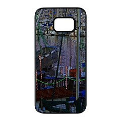 Christmas Boats In Harbor Samsung Galaxy S7 Edge Black Seamless Case